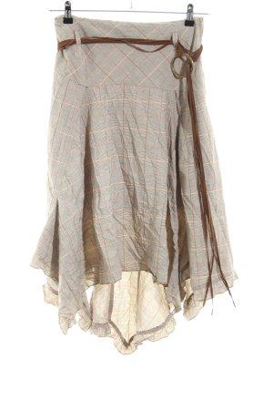 Biba Fringed Skirt check pattern casual look