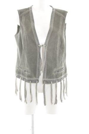 Biba Fringed Vest light grey extravagant style