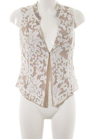 Biba Fringed Vest natural white-beige floral pattern transparent look