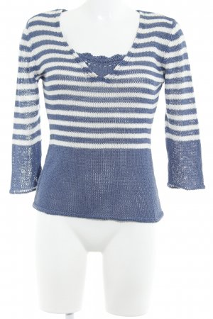 Biba Coarse Knitted Sweater blue-white striped pattern casual look