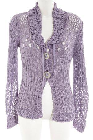 Biba Cárdigan de ganchillo púrpura modelo de punto flojo estilo sencillo