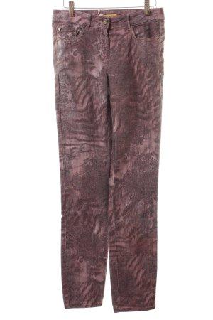 Biba Broek grijs-lila verfraaid patroon Azteken print