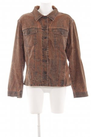 Biba Denim Jacket brown-bronze-colored abstract pattern casual look