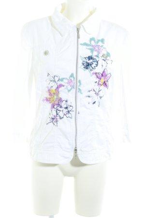 Biba Denim Jacket white flower pattern casual look