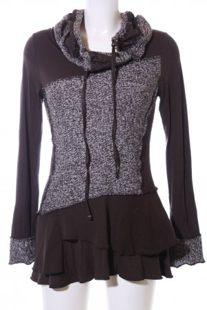 Biba Hooded Sweater brown-white flecked street-fashion look