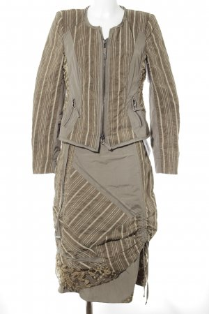 Biba Ladies' Suit grey-olive green striped pattern extravagant style
