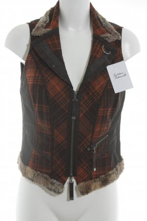 Biba Fake Fur Vest glen check pattern casual look