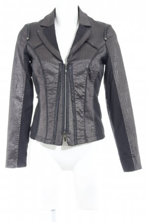 Biba Short Blazer black-silver-colored herringbone pattern casual look
