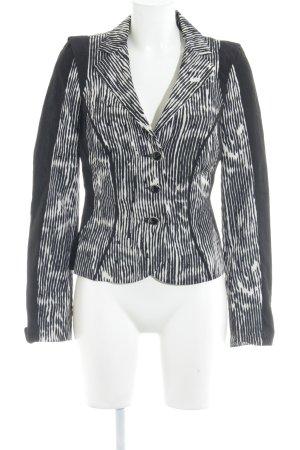 Biba Blazer corto negro-blanco estampado con diseño abstracto