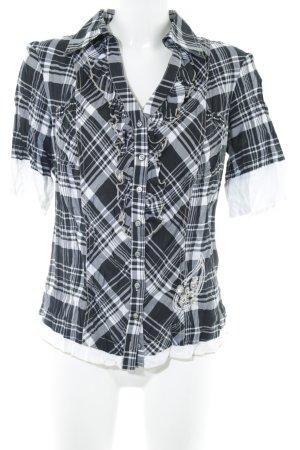 Biba Short Sleeved Blouse black-white check pattern casual look