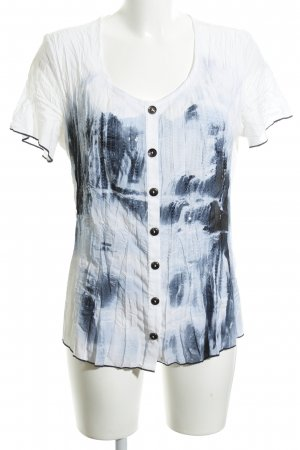 Biba Short Sleeved Blouse white-neon blue abstract pattern casual look