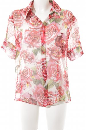 Biba Short Sleeved Blouse flower pattern transparent look