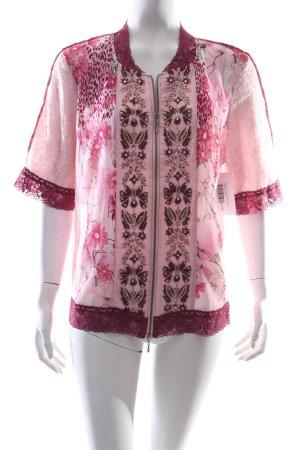Biba Kurzarm-Bluse florales Muster Transparenz-Optik