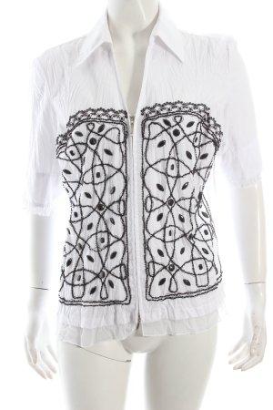Biba Kurzarm-Bluse weiß-schwarz abstraktes Muster schlichter Stil