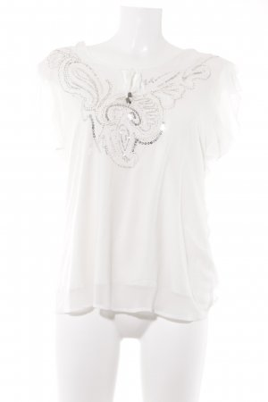 Biba Short Sleeved Blouse white-silver-colored elegant