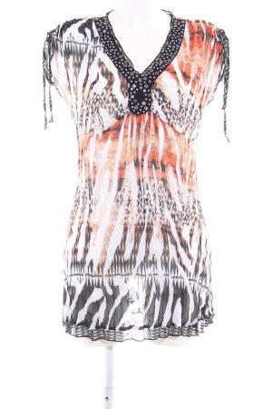 Biba Vestido de manga corta estampado de animales Pasamanería decorativa
