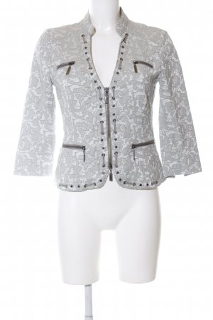 Biba Short Jacket light grey-white abstract pattern business style