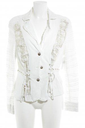 Biba Short Jacket white-gold-colored abstract pattern casual look