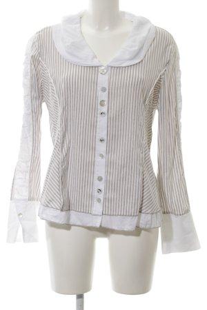 Biba Long Sleeve Blouse white-brown striped pattern wet-look