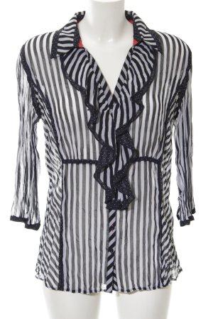 Biba Long Sleeve Blouse black-white striped pattern business style