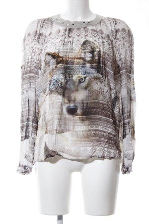 Biba Long Sleeve Blouse abstract pattern casual look