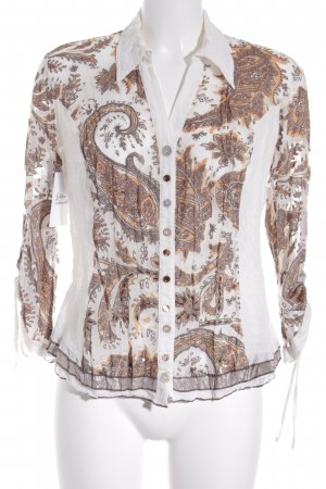 Biba Long Sleeve Blouse light orange-cream mixed pattern simple style
