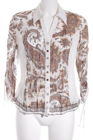 Biba Langarm-Bluse hellorange-creme Mustermix schlichter Stil