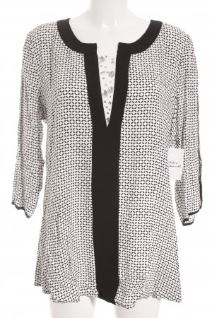 Biba Long Sleeve Blouse white-black abstract print casual look