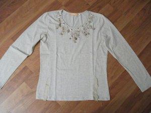 BIBA Langarm T-Shirt, Gr. 36, natur, mit Perlen, Pailetten und Steinchen