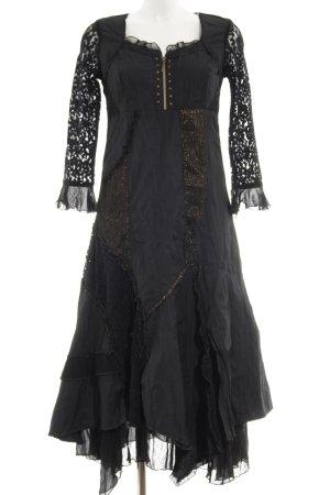 Biba Vestido de manga larga negro-color bronce estilo extravagante