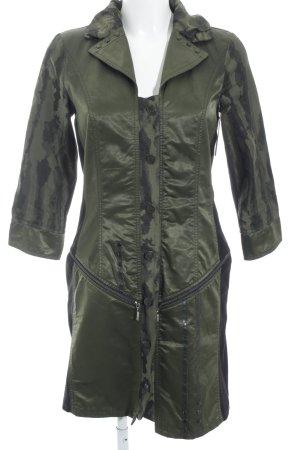 Biba Lange Jacke khaki-schwarz abstraktes Muster Casual-Look