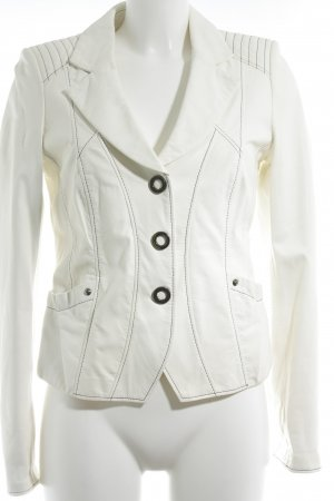 Biba Leather Jacket cream-black street-fashion look