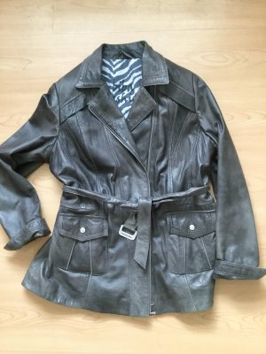 Biba Leather Jacket dark grey leather