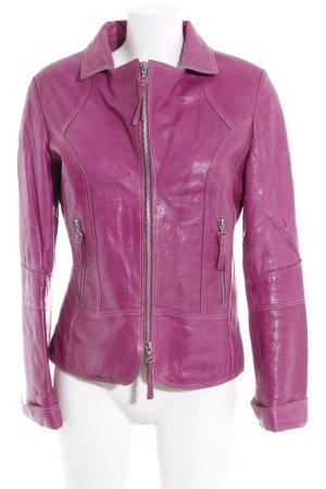 Biba Leather Jacket violet '70s style