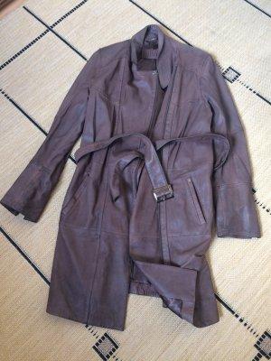 Biba Leather Coat taupe