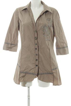 Biba Long-Bluse bronzefarben Motivdruck Casual-Look