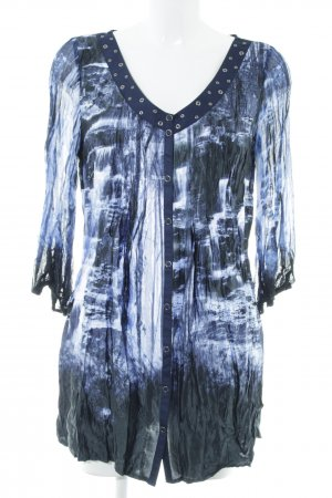 Biba Long Blouse blue-white allover print casual look