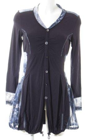 Biba Long-Bluse blau-dunkelblau abstraktes Muster schlichter Stil