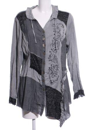Biba Long-Bluse hellgrau-schwarz Elegant