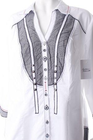 Biba Long-Bluse weiß-schwarz Pepitamuster extravaganter Stil