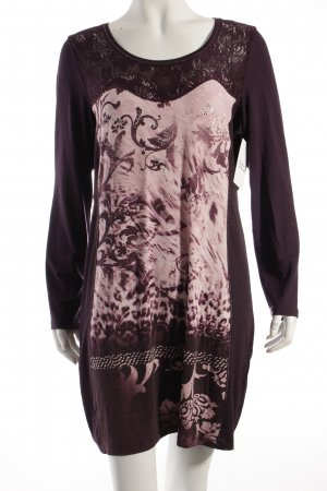 Biba Longshirt braunviolett-violett florales Muster Glitzersteinverzierung