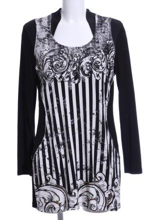Biba Long Shirt black-white abstract pattern business style