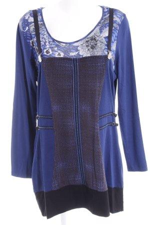 Biba Camisa larga negro-azul estampado floral look casual
