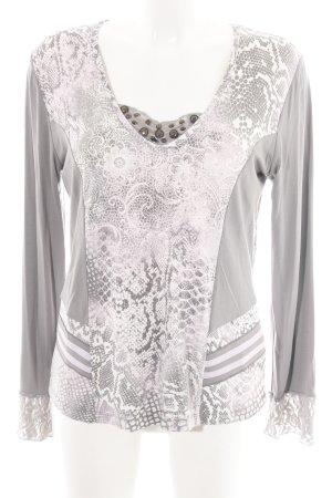 Biba Longsleeve light grey-white mixed pattern extravagant style