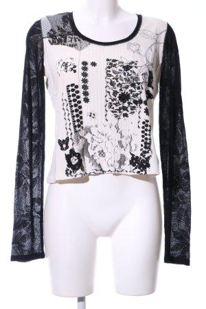 Biba Longsleeve white-black flower pattern casual look