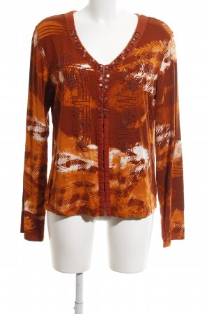 Biba Longsleeve light orange allover print casual look