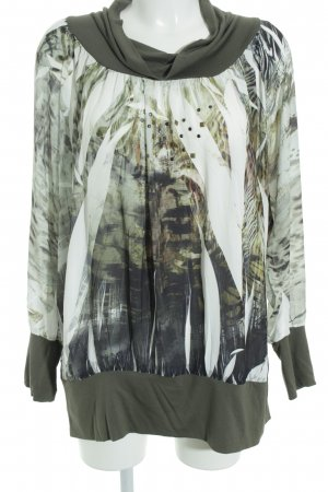 Biba Longsleeve khaki-natural white animal pattern material mix look