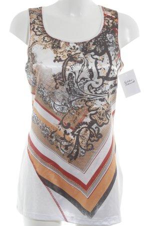 Biba Top lungo bianco-arancione chiaro motivo floreale stile casual