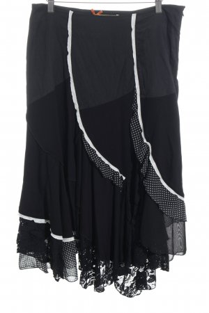 Biba Falda midi negro-blanco estilo fiesta