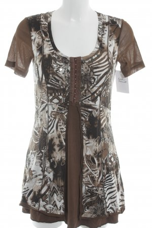 Biba Mini Dress brown-oatmeal abstract print Metal elements